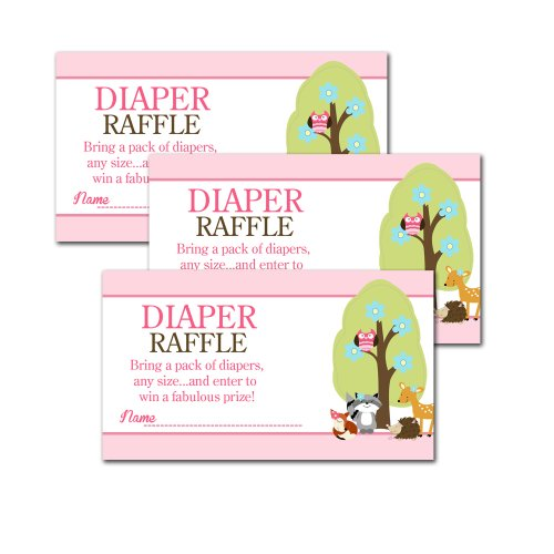 Woodland Animals Girl Baby Shower Diaper Raffle Tickets 20-Pack front-3746