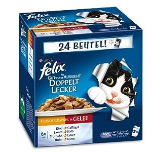 Felix Katzennassfutter So gut wie es aussieht Doppelt lecker Fleisch Mix 100 g, 24er Pack (24 x 100 g)