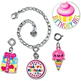 CHARM IT! Birthday Cake, Ice Cream and Present Charm Bracelet Set Plus Birthday Girl Button Pin