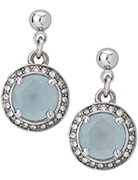 Apriati Silver Rhodium Plated With Aquamarine Stone And Emdedded Crystals Clip On Earrings For Women