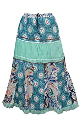 Indiatrendzs Women's Maxi Skirt Floral Printed Green/Blue Cotton Long Skirts