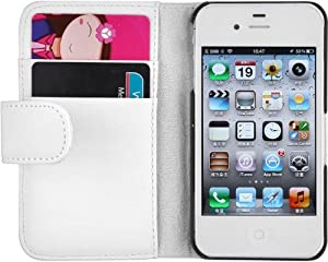 JAMMYLIZARD White Leather Wallet Flip Case & Film for Apple iPhone 4 & 4S