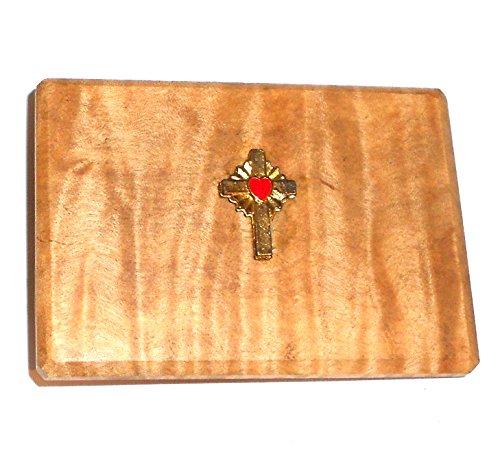 Nice Handmade Vintage Wood Slab & Brass Belt Buckle with Cross & Heart