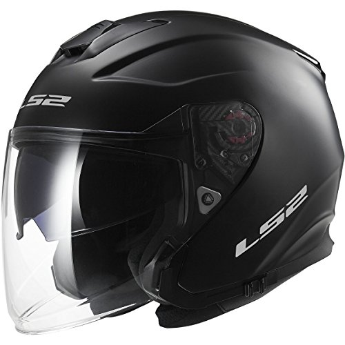 LS2 Helmets Infinity Solid Open Face Motorcycle Helmet with Sunshield (Matte Black, XXX-Large)