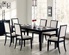 Lexton Dining Set in Distressed Black Finish by Coaster