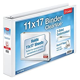 Cardinal 11-Inch x 17-Inch ClearVue Slant-D Ring Binder, 2-Inch, White (22132)