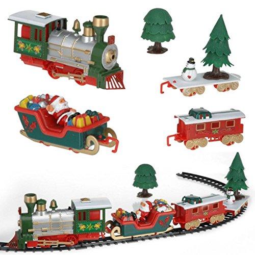 CAMTOA 12 pièces Set de Train Lumière Musicale de Noël pour Rouler autour de Sapin de Noël - Jeux Jouet Cadeau de Père Noël Arbre Cadeau Enfants