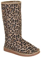 New Ladies Womens Faux Suede Fur Lined Leopard Animal Print Boots Sizes UK 3 4 5 6 7 8