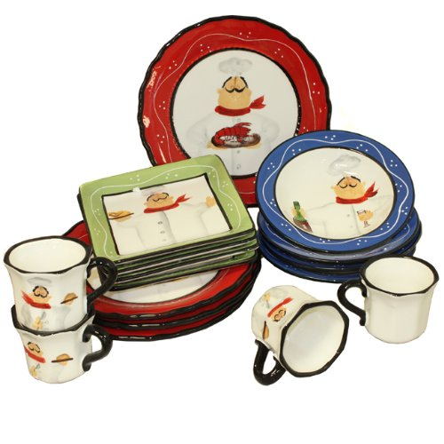 Buy Chef Italiano Hand-Painted 16-Piece Dinnerware Set - Serving for