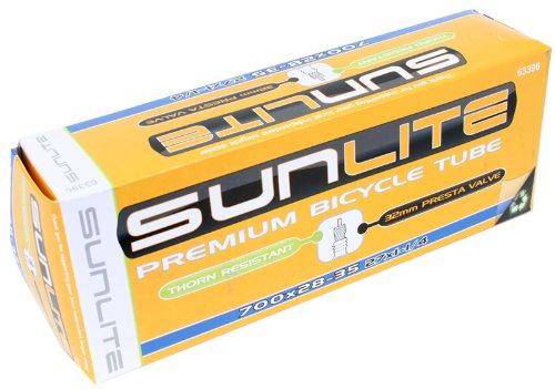 Sunlite Thorn Resistant Presta Valve Tubes, 700 x 28 - 35  / 48mm, Black