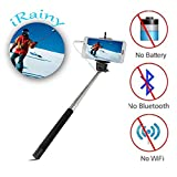 iRainy Extendable Self-portrait Telescopic Handheld Pole Monopod Audio Cable Wired Selfie Stick Remote Shutter for Apple iPhone 6/5/5C/5S/4S/4, Samsung Galaxy S4 S5 Note2 Note3 4 Android iOS