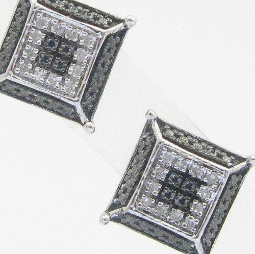 Mens 925 Sterling Silver earrings fancy stud hoops huggie ball fashion dangle black white layered pave earrings