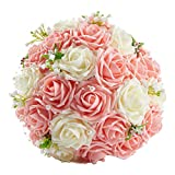 Bridess Lace Pearl Rose Holding Wedding Bridesmaid Bouquet with Flower Pink&White