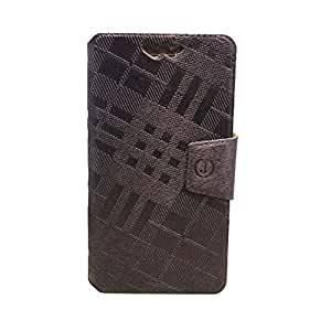 J Cover Krish Series Leather Pouch Flip Case With Silicon Holder For Allview X2 Soul Style + Platinum Brown