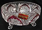 Echt Bleikristall Lead Crystal 3 Footed Bowl 6.25 Ruby Accent Western Germany