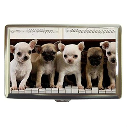 Chihuahua Puppies Dogs Custom Business Name Card Money Credit Card Holder Box Case front-429641