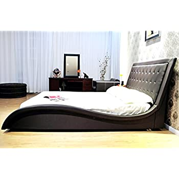 Greatime B1136-2 California King Size Dark Brown Wave-like Shape Faux Leather Platform Bed, with Euro Curved Slats