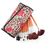 ALICE 12 Count Professional Makeup Cosmetic Brush Set with Leopard Spotted Pouch