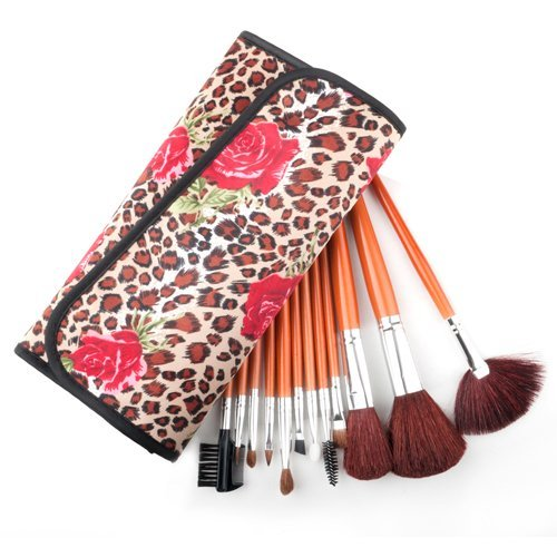 Professional Makeup Cosmetic Brush Set with Fashion Leopard Spotted Pouch, 12 Count