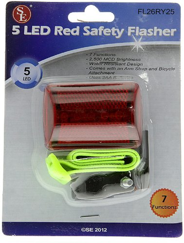 Se - Safety Light - Flasher W/Bicycle Att., 5 Red Led, Red Body