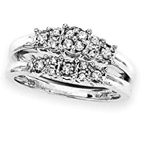 Sterling Silver 1/4 ct. Cubic Zirconia Engagement Set