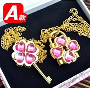 Shugo Chara Lock and Key Necklace pink with golden chain ,Lock can be opened