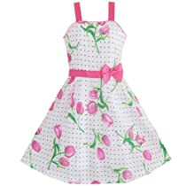Girls Dress Pink Flower Green Leaves Black Dot Bow Tie Sz 7-8