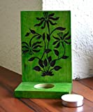 Style My Way Handengraved Green Wooden Table Cum Wall T-Light Holder