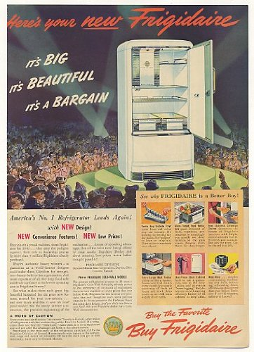 1940 Frigidaire Refrigerator Big Beautiful Bargain Print Ad