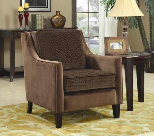 accent chair with basket-weave boxed cushion in brown finish