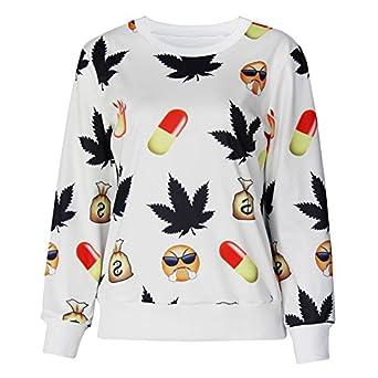 Print Emoji Emoticon Moletons Weed Folha Sweatshirts Small: Clothing