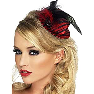 Smiffy's Fever Burlesque Mini Tophat with Feathers - Red and Black