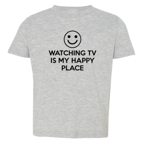Mashed Clothing Little Boys' Watching Tv Is My Happy Place Toddler T-Shirt (Heather Grey, 3T)