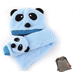 ETSYG Lovely Unisex Cartoon Animal Panda Plush Warm Cap Long Hat Scarf Sky Blue