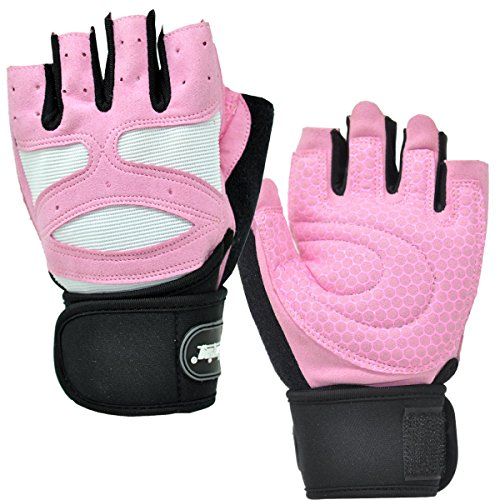 XinluYing Women Half Finger Gym Workout Fitness Weightlifting Cross Training Cycling Wrist Brace Support Summer Velcro Gloves Pink
