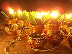 DECORATIVE DIWALI DIYA DEEPAK KALASH RICE LIGHT -21 DEEP LED String Festival Puja Temple decor