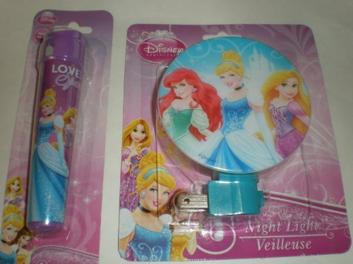New Disney Princess Night Light & Led Flashlight Set - Featuring Cinderella, Belle & Repunzel - 2 X AAA BATTERIES INCLUDED - 1