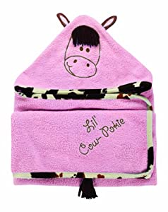 Manual Woodworkers Lil' Cow-Pokie Hooded Towel, Cowgirl Pink, 28 X 52""