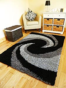 Grey Black Silver Modern Thick Shaggy Rugs Large Small Runners Soft Shag Pile Rug (black Silver Grey, 80 X 150 Cm) by RUGS 4 HOME