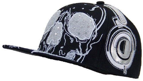 Embroidered Skull And Headphones Bling Adjustable Snapback Hat (One Size) - Black