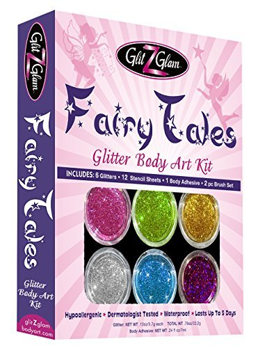 Fairy Tales Glitter Tattoo Kit with 6 Large Glitters & 12 Amazing Stencils - HYPOALLERGENIC and DERMATOLOGIST TESTED! -Temporary Tattoos & Body Art (Tattoo Kit For Kids compare prices)
