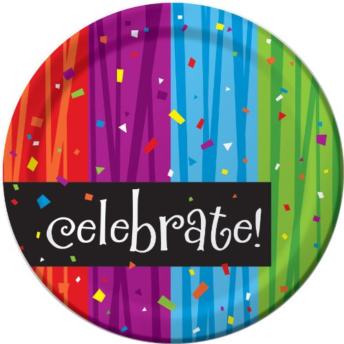 Creative Converting Milestone Celebrations Round Dessert Plates, 8-Count, Celebrate