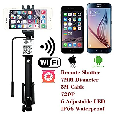 Upgraded Wifi Wireless Endoscope Built-in Remote Shutter Borescope 7mm 2MP 6 LED 720P IP66 Tube Waterproof Snake Inspection Camera System, for iphone iOS ipad Samsung Android Smartphone by AttoPro-5M from AttoPro Direct