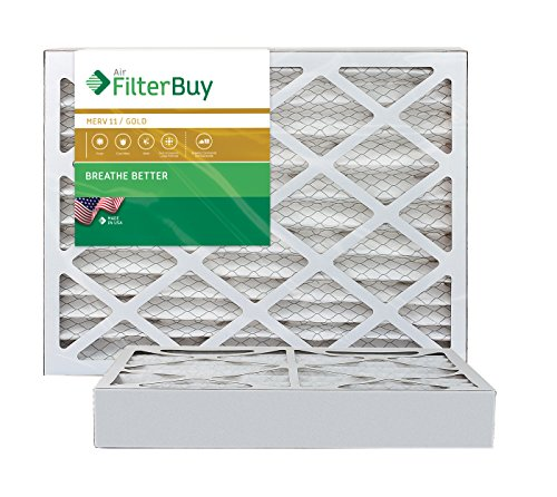 AFB Gold MERV 11 16x20x4 Pleated AC Furnace Air Filter. Pack of 2 Filters. 100% produced in the USA.