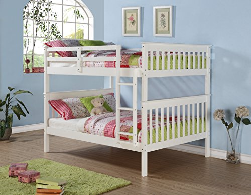 Bunk Bed Full over Full Mission Style in White and FREE Waterproof Full Mattress Protector by Bella Sleep - Bundle (Bunkbed Only)