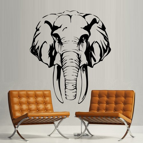 Wall Decal Art Decor Decals Sticker Elephant Wild Animal Trunk Head Tusks Indian Bedroom Office Mural Home Interior Design Art Gift (M1302) front-735370
