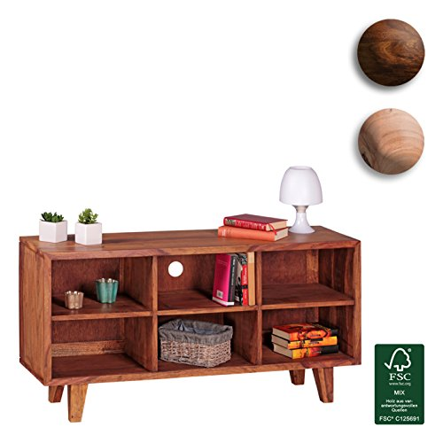 FineBuy-Lowboard-Massivholz-Sheesham-Kommode-118-cm-TV-Board-6-Fcher-Landhaus-Stil-dunkel-braun-Unterschrank-TV-Mbel-Echt-Holz-Hifi-Rack-60-cm-hoch-Sideboard-Deko-Fernsehschrank-offen-Natur-Produkt