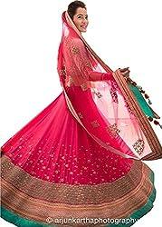 D&J INTERNATIONAL Designer Pink Benglori Silk Embroidery Work Lehenga Choli