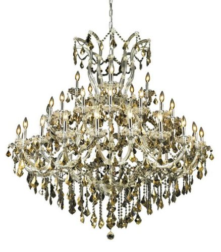 Elegant Lighting 2800G52C-Gt/Rc Maria Theresa 54-Inch High 41-Light Chandelier, Chrome Finish With Golden Teak (Smoky) Royal Cut Rc Crystal front-83407