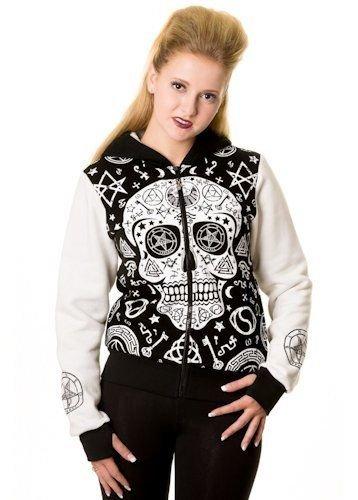 Banned Skull Pentagram Bianco e nero da donna con cappuccio con zip Felpa Con Cappuccio Nero/Bianco 10